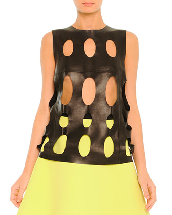 Laser-Cut Leather Top & Two-Tone A-Line Skirt
