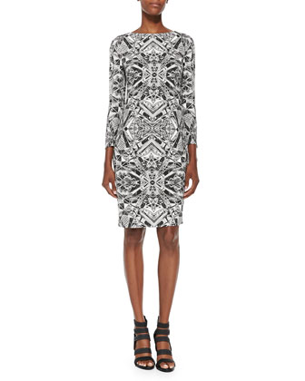 Thilo Westermann Woven Vase Sheath Dress, Black