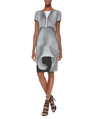 Thilo Westermann Short-Sleeve Petal-Print Dress, Black