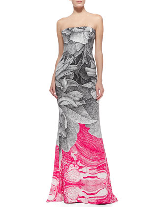 Thilo Westermann Colorblock Floral Gown, Black/Pink