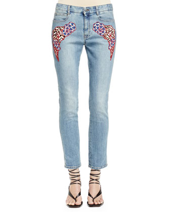 Skinny Boyfriend Jeans with Appliqu??s