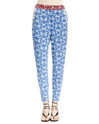 Abstract-Print Pants with Contrast Waist
