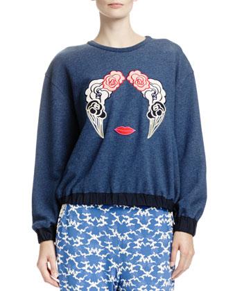 Long-Sleeve Sweatshirt with Appliqu??s