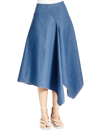 Sleeveless Lace-Front Tee & Denim Skirt with Asymmetric Hem