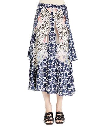 Floral-Print Multilayered Full Skirt, Navy