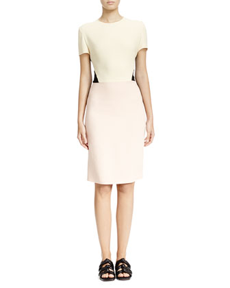 Short-Sleeve Tri-Tone Colorblock Dress, Butter