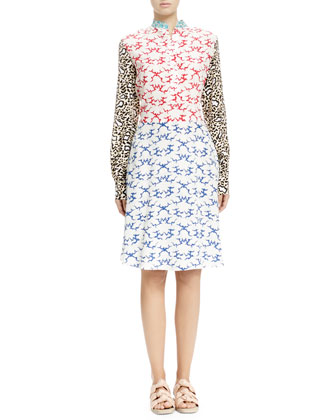 Mixed-Print Henley Dress, White Ocean