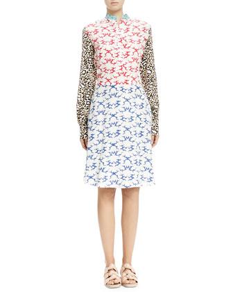 Mixed-Print Henley Dress, White Ocean