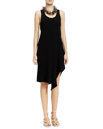 Ribbed Asymmetric Tank Dress, Black