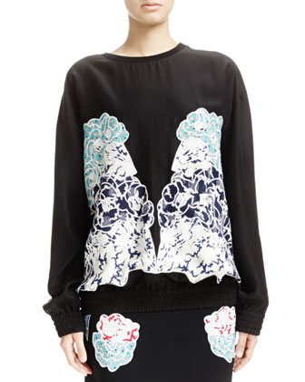 Long-Sleeve Top with Embroidered Appliqu??s