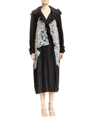 Caban Coat with Appliqu?? Wings, Scoop-Back Tank with Floral Embroidery & ...