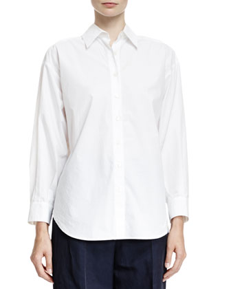 Long-Sleeve Blouse with Bow-Tie Back