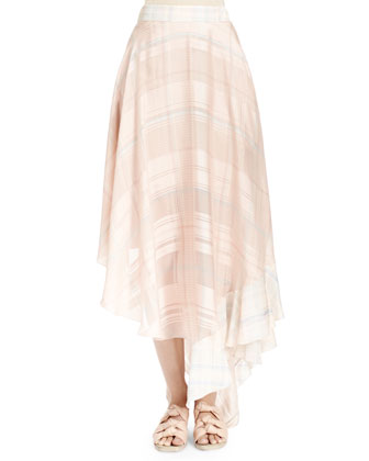 Hooded Drawstring-Hem Blouson Top & Silk Plaid Full Ruffle Skirt, Multi