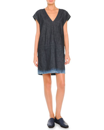 V-Neck Denim Dress W/ Bleached Hem