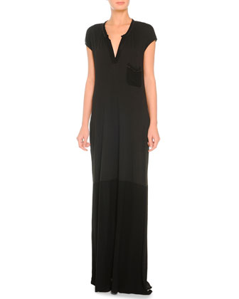 Cap-Sleeve V-Neck Jersey Maxi Dress, Black