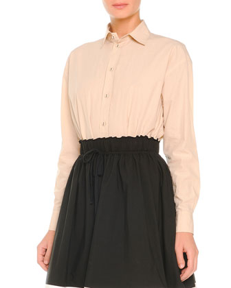 Poplin Button-Front Blouse & Tricolor Poplin Full Skirt