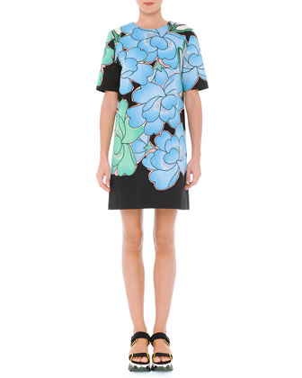 Jewel-Neck Floral-Print Shift Dress, Powder Blue