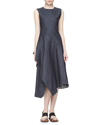 Asymmetric Ruffled Denim Dress, Navy Blue
