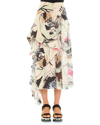 Abstract Printed Skirt with Side Flounce