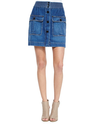 Double-Pocket Denim Skirt