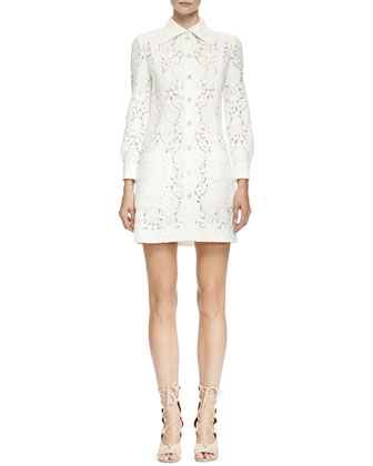 Long-Sleeve Guipure Lace Shirtdress, Milk