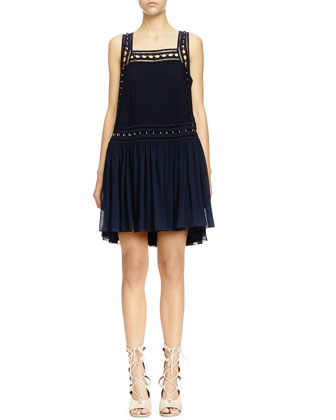 Brass Ring-Embellished Shift Dress, Deep Navy