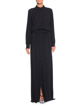 Belted High-Slit Long Shirtdress, Dark Navy