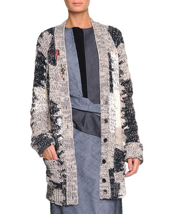 Mended Yarn Long Cardigan, Dark Navy/Sand
