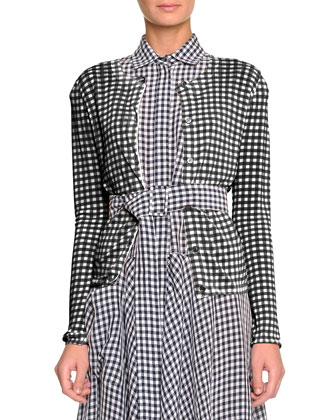 Soft-Knit Gingham-Check Cardigan, Dark Navy/Bianco