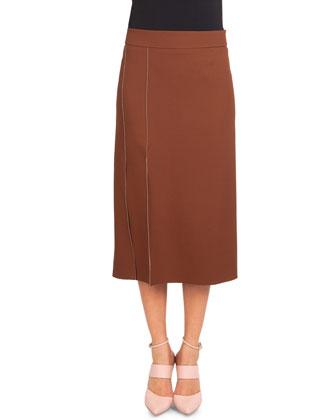 High-Slit Crepe Midi Skirt