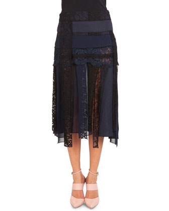 Pieced Lace Midi Skirt