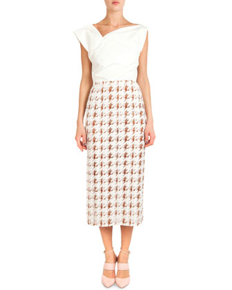 Asymmetric-Neck Dress W/ Printed Skirt