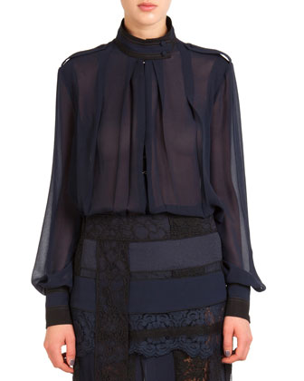 Sheer Silk Funnel-Neck Blouse