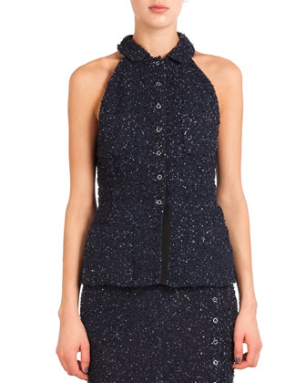 Button-Front Sequined Halter Top