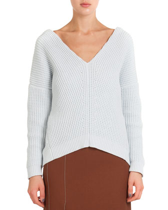 Cotton-Cashmere Split Chiffon-Back Sweater & High-Slit Crepe Midi Skirt