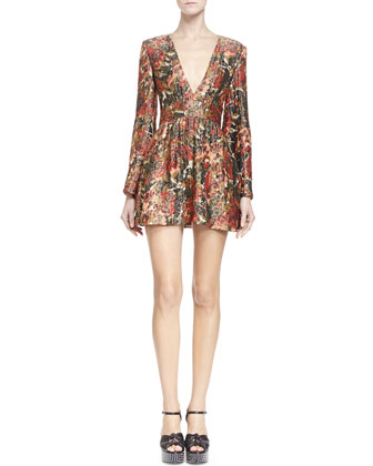 Velvet Cape with Allover Embroidery, Floral-Print Plunge-Neck Dress & ...