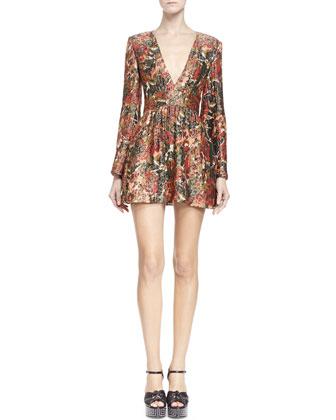 Floral-Print Plunge-Neck Dress