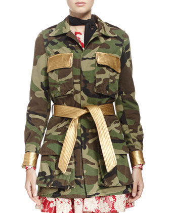 Camouflage Belted Military-Style Jacket, Draped Kimono Floral Dress & ...