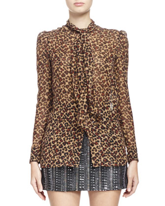 Short Zip-Front Leather Jacket, Long-Sleeve Leopard Print Georgette Blouse ...