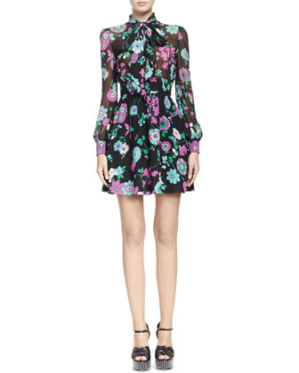 Tie-Neck Silk Floral-Print Dress
