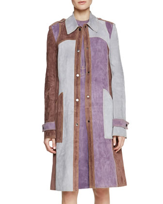 Tri-Tone Suede Patch-Pocket Trench Coat, Antique Rose