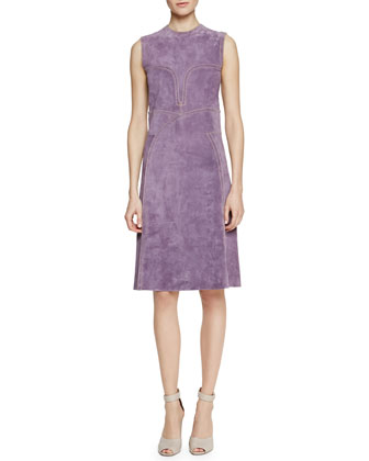 Contrast Topstitched Suede Shift Dress, Parme