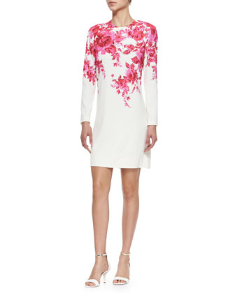 Long-Sleeve Floral-Print Shift Dress, Peony