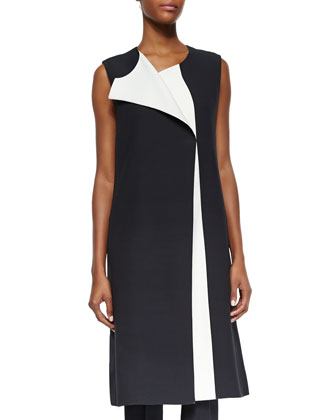 Bicolor Full-Length Vest, Two-Tone Harness-Back Top & Flat-Front Slim Pants