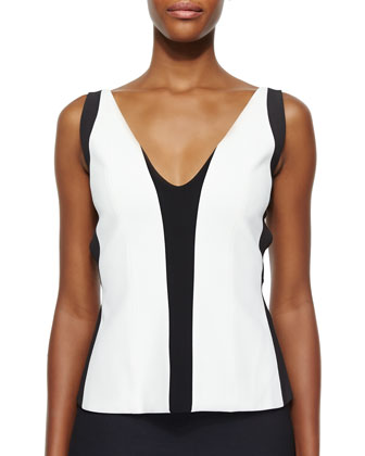 Two-Tone Harness-Back Top, White/Black Lava