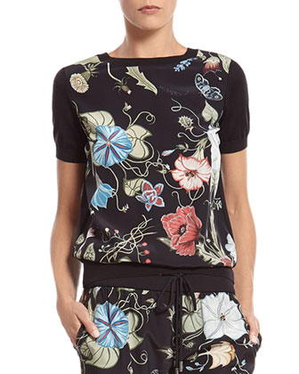 Flora Knight Print Silk Top