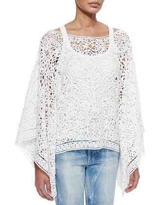 Roderick Open Soutache Poncho, White