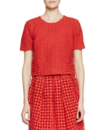 Short-Sleeve Cutwork Embroidered Shirt