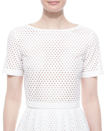 Mesh Short-Sleeve Crop Top, White