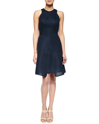 Seamed Pique Tiered Dress, Navy